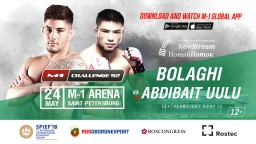 Featherweight bout at M-1 Challenge 92: Saba Bolaghi vs. Busurmankul Abdibait Uulu